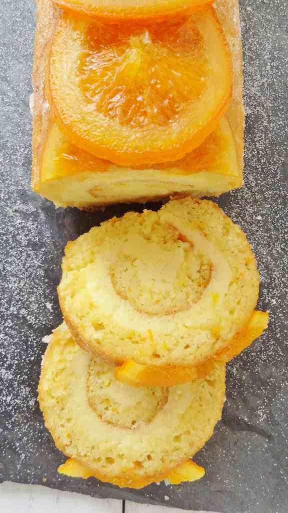 orange almond swiss roll