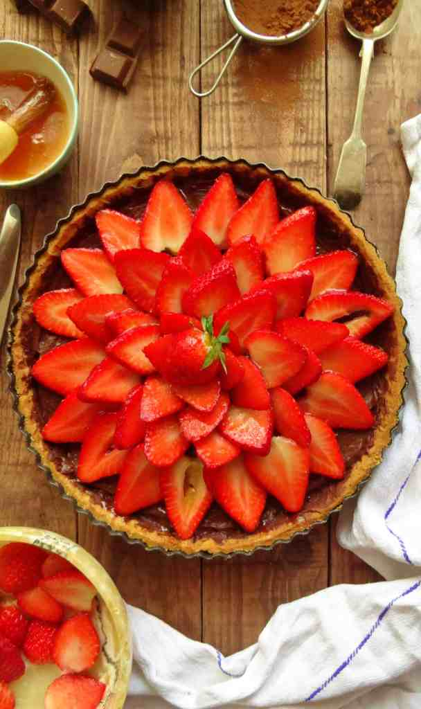 chocolate and strawberry tart