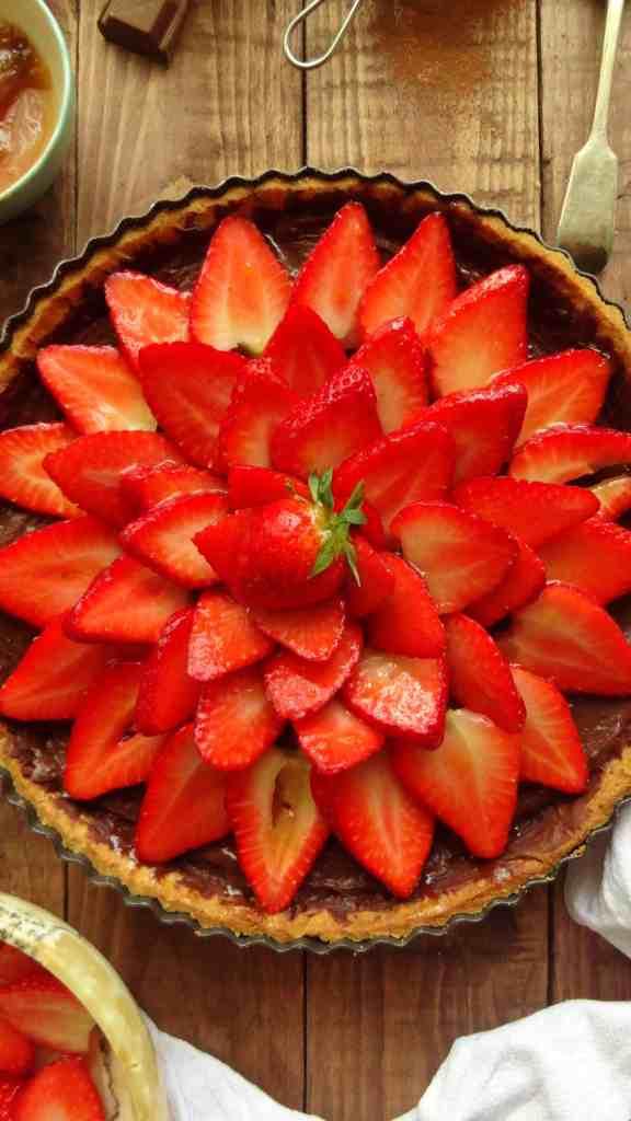 strawberry and chocolate tart