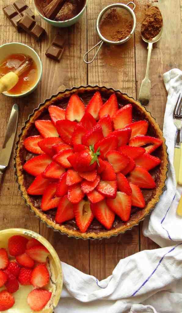 strawberry tart with chocolate pastry cream