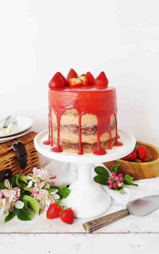 Strawberry, elderflower and almond layer cake