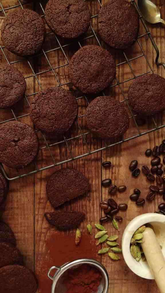 Chocolate coffee and cardamom biscuits (cookies) - Domestic Gothess