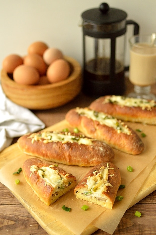 Garlic mushroom and manchego cheese baked egg bread boats - Domestic ...