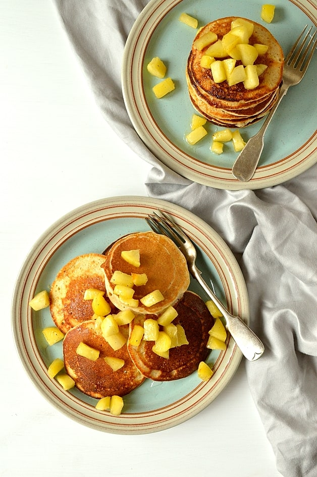 Refined sugar free oat and spelt pancakes with cinnamon apples - light, fluffy, soft pancakes sweetened with carob syrup, these are healthy, filling and delicious