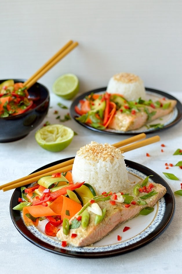 Thai green curry baked salmon with coconut rice and fresh, zingy raw vegetable ribbon salad