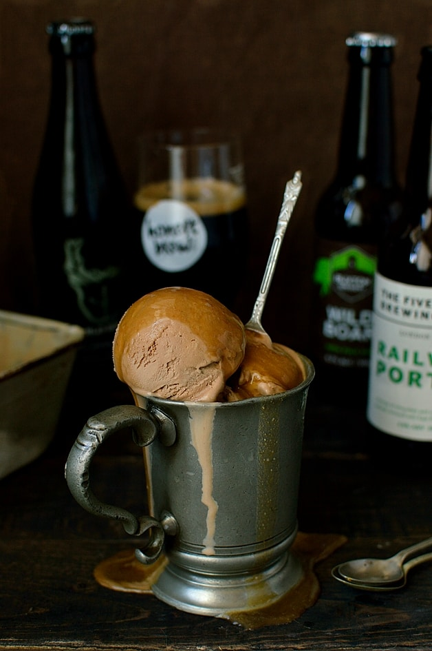 Chocolate porter (or stout) beer ice cream with porter caramel sauce