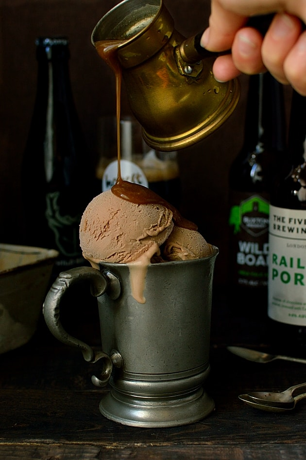 Milk chocolate porter beer (or stout) ice cream with porter caramel ...