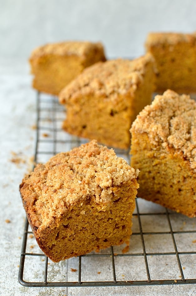 Moist pumpkin spice cake with a crumb topping
