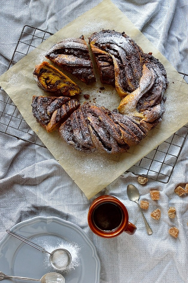Chocolate and ginger filled yeasted pumpkin bread twisted wreath