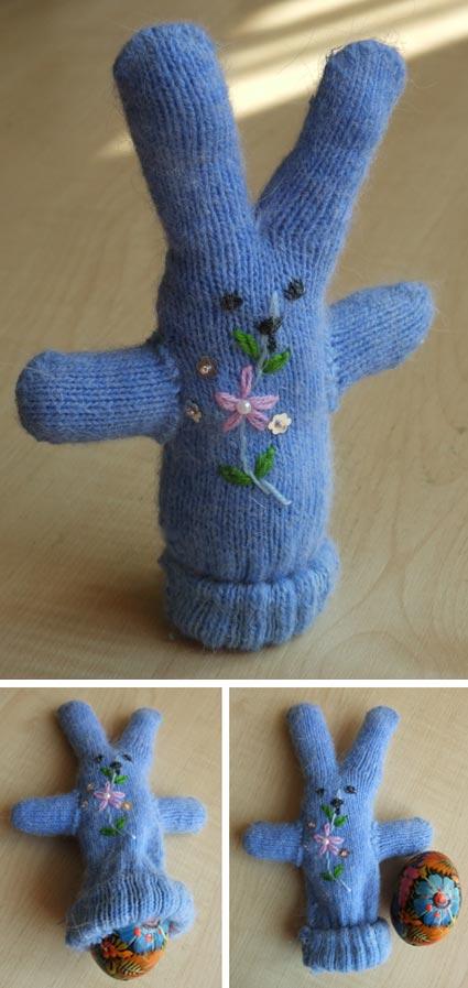 пасхальный заец из перчатки