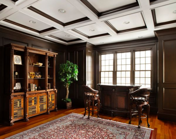 Exquisite-wood-trim-ceiling-to-match-the-beautiful-hardwood-floors-in-this-traditional-home-office