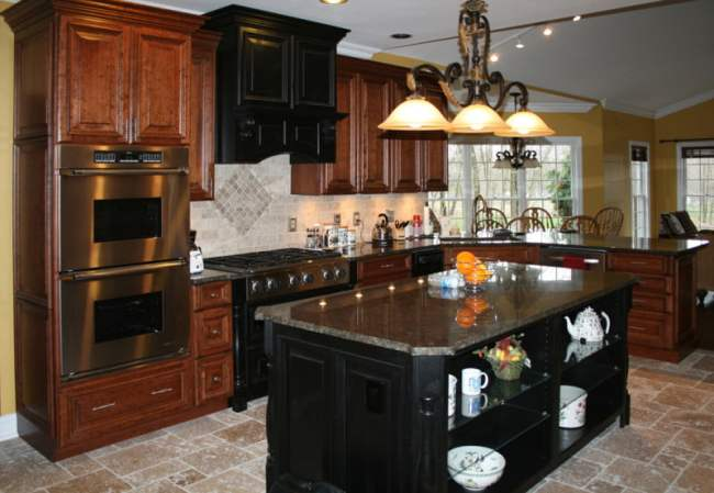 Dark-Cherry-Kitchen-Cabinets-Set