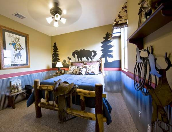 Childrens-Spaces-Count-Castle-Interior-Design-boy-cowboy-room-rustic-vintage-silhouette-mural-corrugated-metal-wainscot-2-web-e1381700272744