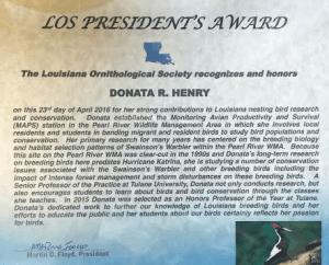 The Louisiana Ornithological Society recognizes Donata R. Henry!