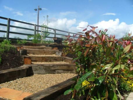 small-garden-raised steps through plants