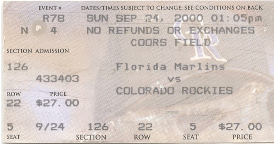 1-Coors Field ticket 1