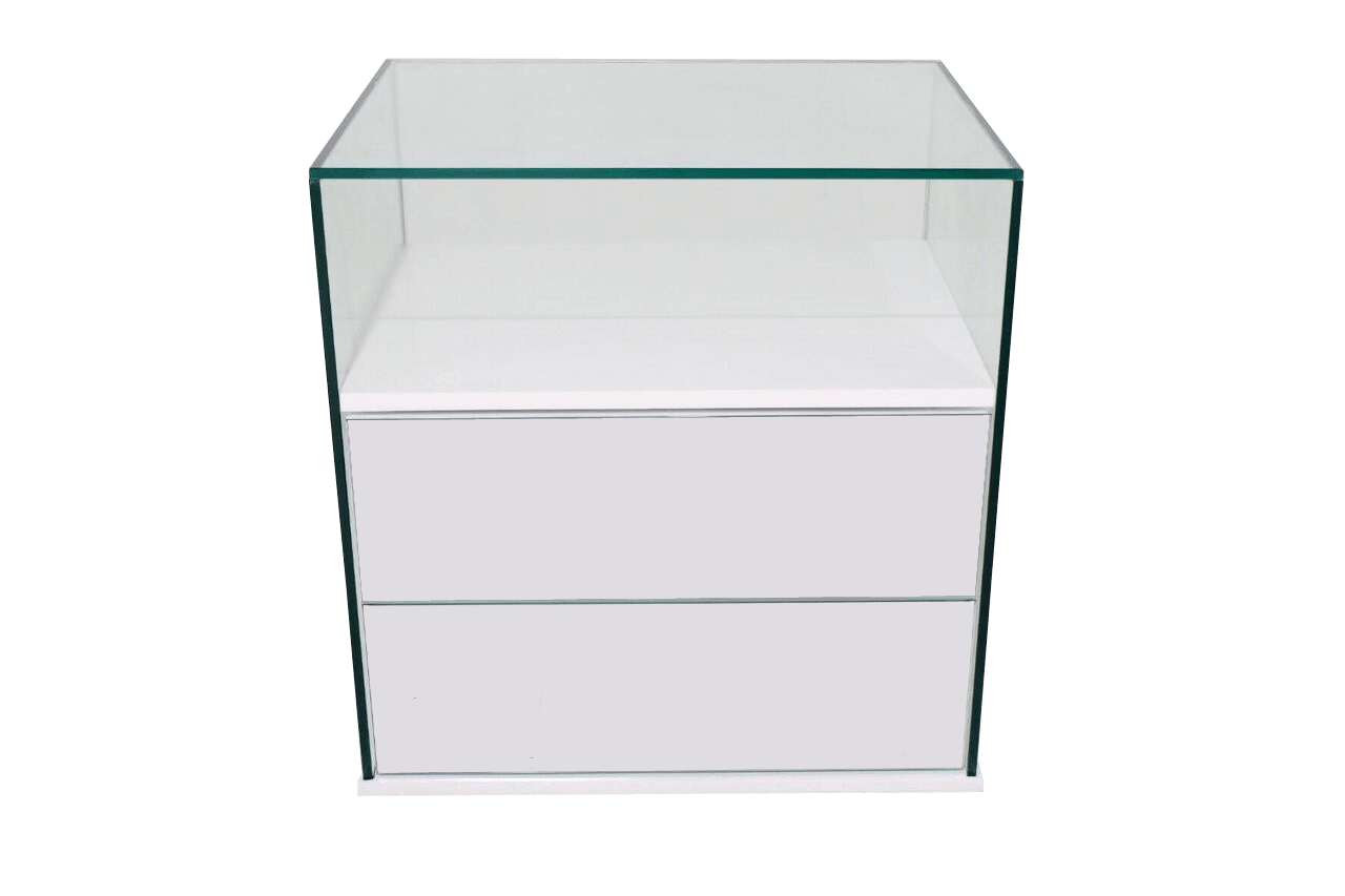 Glass Side Table With Drawer Garcia Glass Side Table W Mirrored Bevelled Drawers