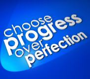 Choose Progress Over Protection saying or quote in 3d letters and words on a blue background to illustrate moving forward instead of procrastinating or waiting for things to be perfect