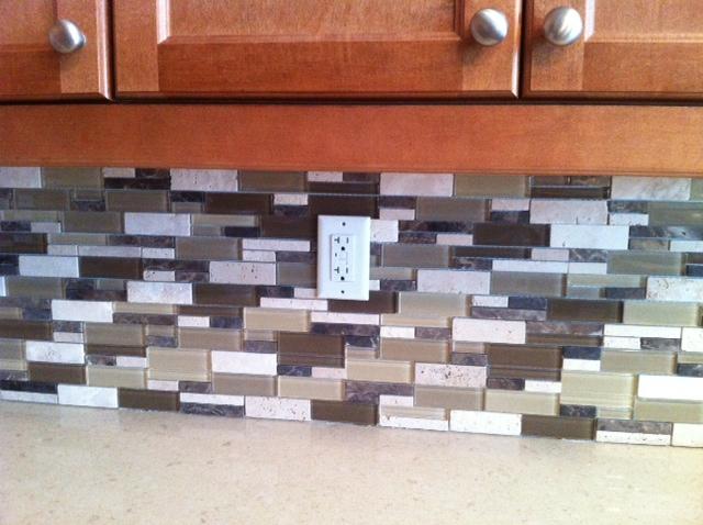 Glass Stone Mosiac Kitchen Backsplash Tile Install By