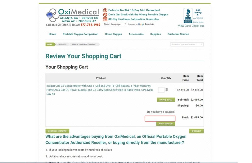 OxiMD Shopping Cart