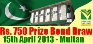 Prize bond of Rs.750/- draw   Results held at Multan