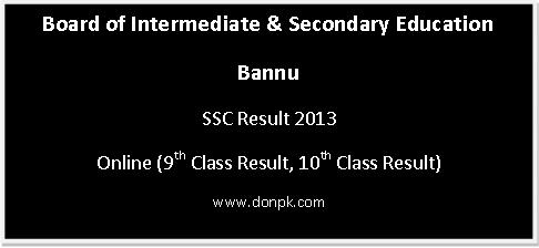 Matric Online Result Bannu board