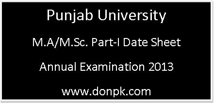 Punjab University M.A/M.Sc Part-I Annual Examination Starts on July/August 2013