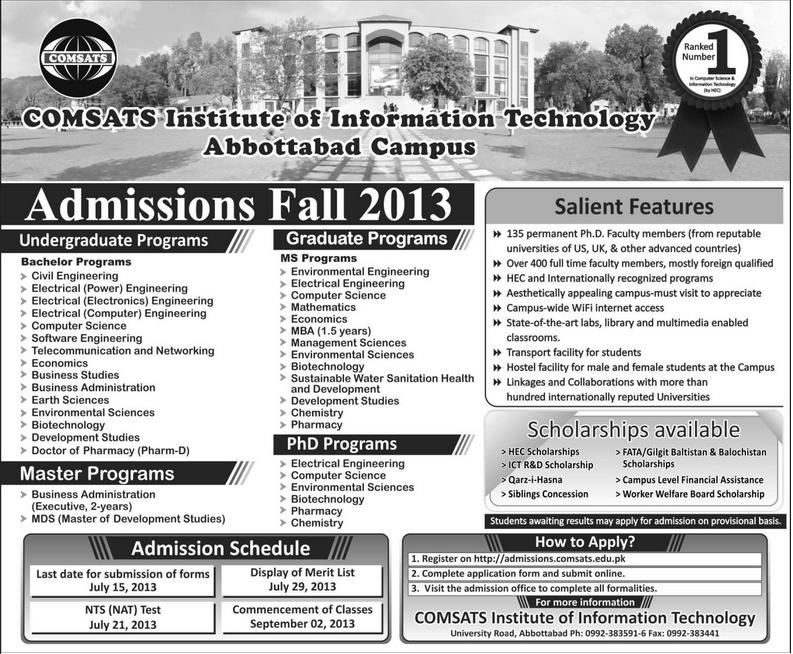 CIIT Admission Fall 2013 for Abbottabad Campus