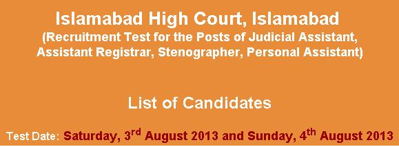 Islamabad High court different Jobs NTS Test