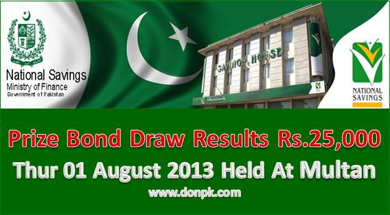 25000 Draw Results,  01-08-2013 Prize Bond Results