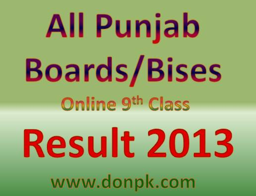 All Punjab Bises 9th Class Result 2013