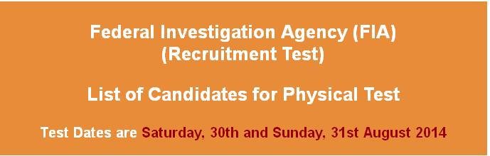 FIA JOBS 2014 PHYSICAL TEST DATE