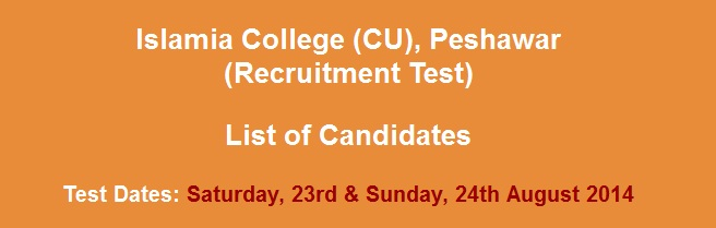 Recruitment list of Candidates islamia College Peshawar
