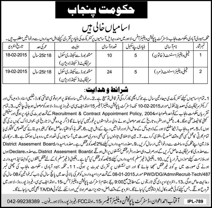 punjab population family  welfare assistant jobs