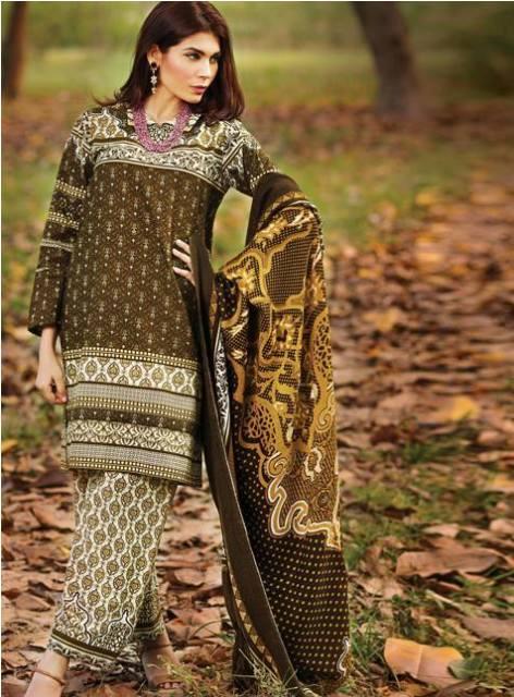 alkaram fashion winter dresses 2015