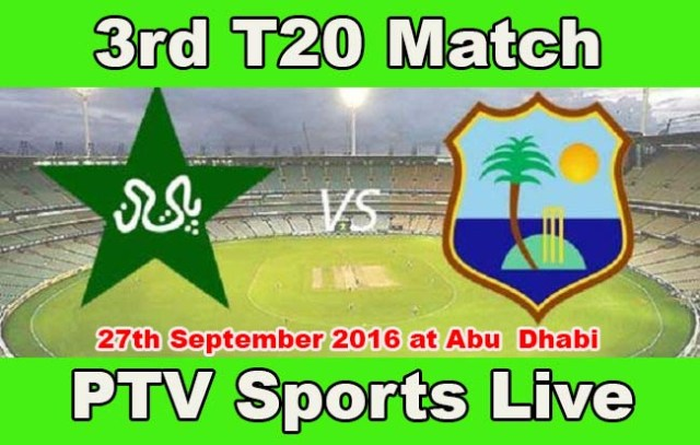 live Streaming 3rd T20 Pak vs WI at PTV sports