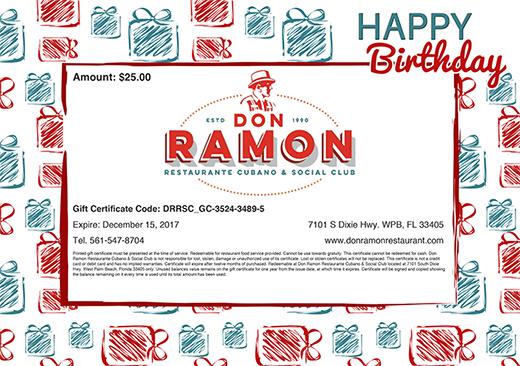 $50 Gift Certificates - Don Ramon Restaurante  Social Club - birthday gift certificate