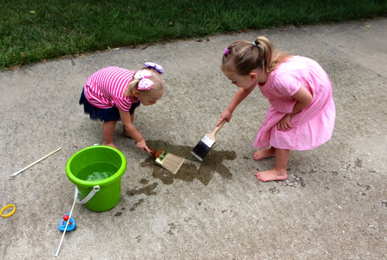 Water play activities for toddlers - painting with water!