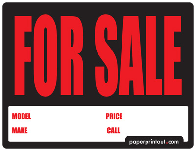 Car for Sale Sign Template