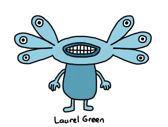 a drawing of a blue creature with six eyes