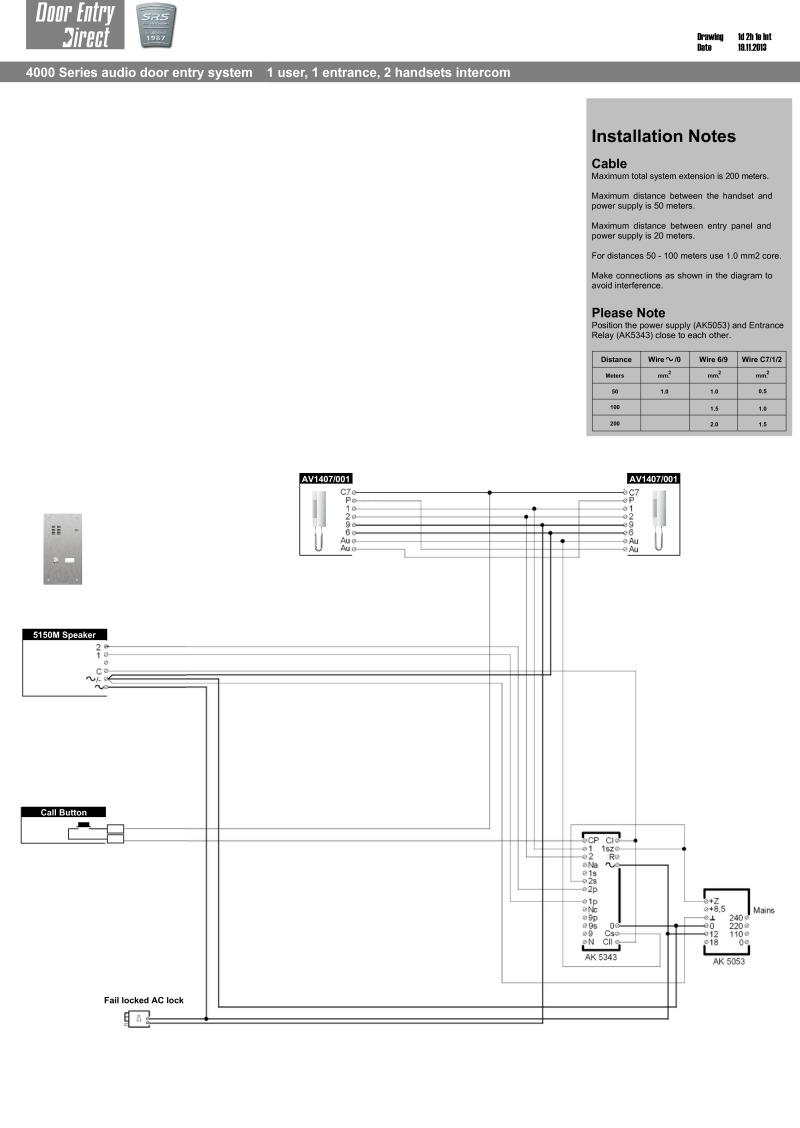srs intercom wiring diagram