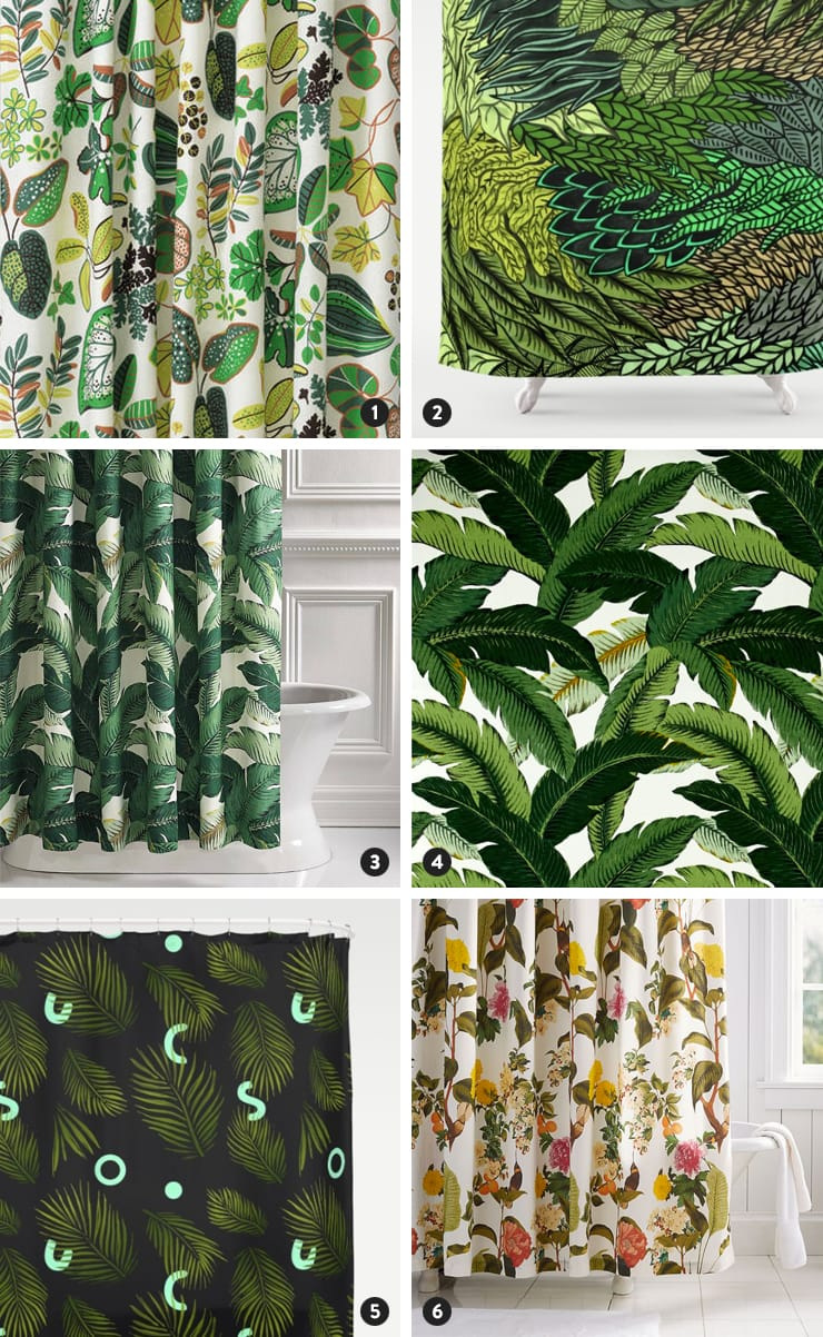 Banana Leaf Shower Curtain Botanical Shower Curtain Options Door Sixteen