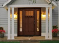 Rustic style fiberglass entry doors with sidelights | Home ...