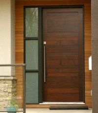 Modern single mahogany entry doors with sidelights