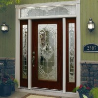 Decorative glass door inserts for single door with