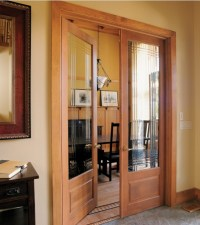Double prehung interior doors with decorative glass panels ...