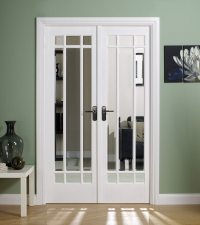 Manhattan White Primed Internal French Doors With Clear ...