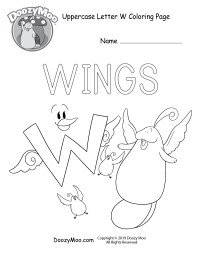Cute Uppercase Letter W Coloring Page (Free Printable ...