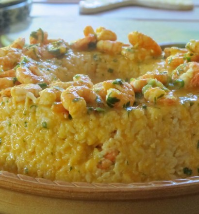 arroz ao creme de camarão