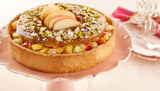 Torta de frutas e caramelo de pistache – sobremesa para o ano novo